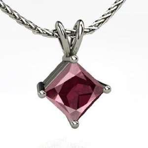 Solitaire Pendant, Princess Rhodolite Garnet 14K White Gold Necklace