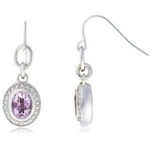 Sterling Silver Oval Shaped Amethyst Rose de France Earrings Jewelry