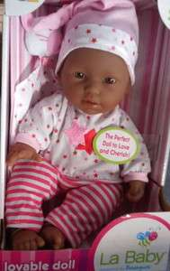 Berenguer Berjusa African American Black Doll 11 Red Stripe PJs