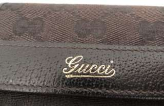 BN Auth Gucci GG Brown Leather / fabric Wallet Bag  WITH BOX  100%