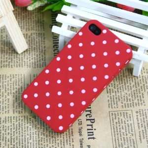 Red / Polka Dot Pattern Plastic Case for Apple iPhone 4+free USB Cable