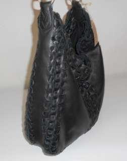 NEW LUCKY BRAND HANDBAG BLACK BUTTER SOFT LEATHER BRAIDED LINKS HOBO