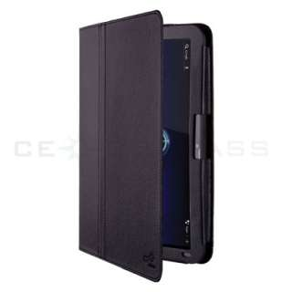 Black Folio Leather Case Cover For Motorola Xoom Tablet