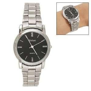 Como Men Black Round Dial Metal Band Wrist Quartz Watch