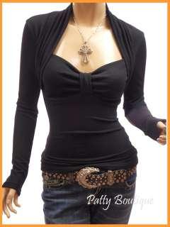 Smart Black Bolero Style Long Sleeve Knit Blouse Top, S