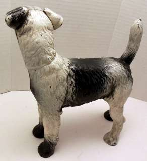 Excellent Antique Hubley heavy Cast Iron Wire Hair Fox Terrier Dog