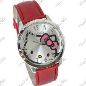 Brand New Hello Kitty Large Face Red Band Watch + Hello Kitty Pouch