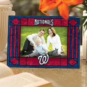 MLB Washington Nationals Red Art Glass Horizontal Picture