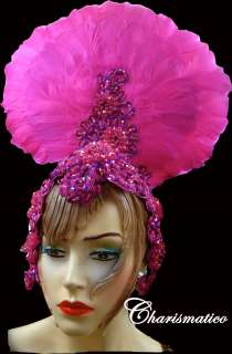 PINK FUCHSIA Drag CABARET DIVA BRAZIL Feather HEADDRESS