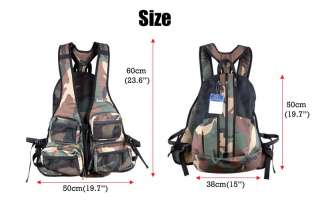 Fly Fishing Vest & Backpack Lure Pockets Multi Purpose Bag Military