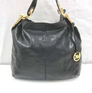 Authentic Michael Kors INES CHAIN Black Leather Slouch Handbag