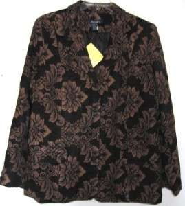 Denim & Co. Black Corduroy Velour Brown Tapestry Floral Jacket