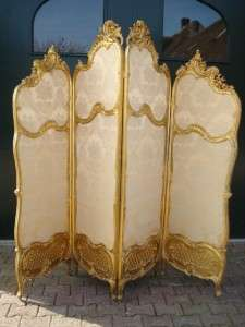 Antique beautiful decorated French folding screen   19th century