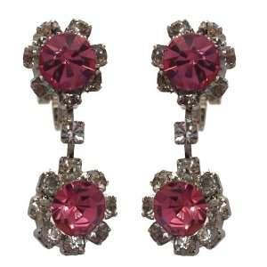 Dottie Silver Pink Crystal Clip On Earrings Jewelry