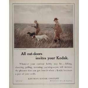 1911 Ad Eastman Kodak Hunters Hunting Dogs Spaniel Gun