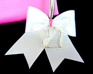 Beautiful Hot Pink Silver Heart Wedding Guest Book set