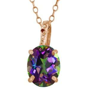 2.51 Ct Mystic Green Mystic Quartz Diamond 14K Rose Gold