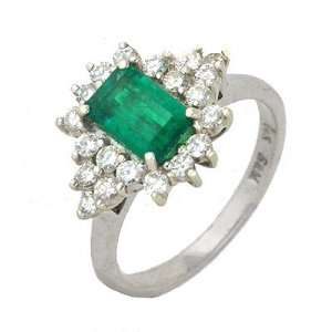 1.74 Ct Emerald & Diamond Antique Style Cocktail Ring 14k