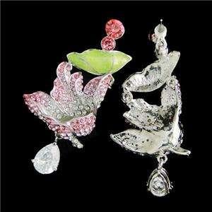 Frog Austrian Rhinestone Crystal Dragonfly Drop Necklace Earring Set