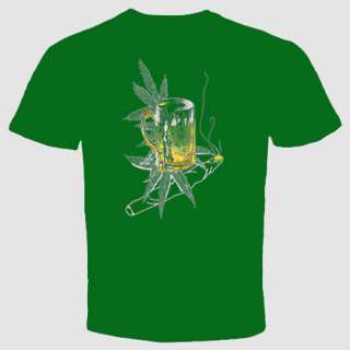 weed & beer marijuana pot cannabis t shirt drinking Tee