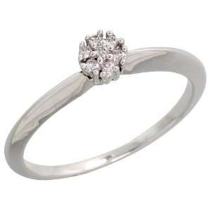 14k White Gold Fancy Cluster Diamond Ring, w/ 0.06 Carat Brilliant Cut