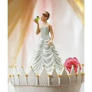 Wedding Cake Topper   Princess Bride Kissing Frog Prince Figurine