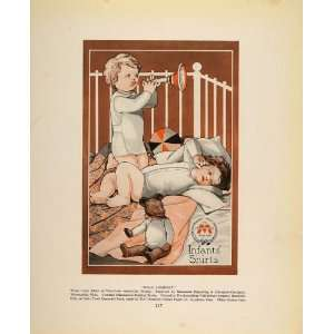 1913 Vintage Print Infant Shirts Babies Crib Teddy Bear