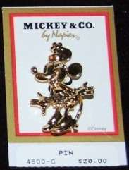 Vintage Disney Characters Goldtone Minnie Mouse Pin Brooch ~ Napier