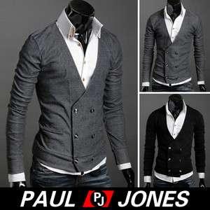 PJ Mens Double Breasted Sweater Cardigan Knitwear Coats