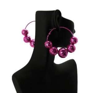 POParazzi Inspired Hollow Ball Earrings UE5278FUCH Fuschia Jewelry