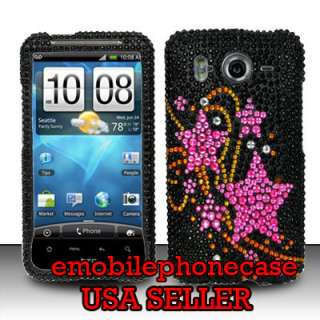 Pink Stars Iced Hard Case Cover HTC Inspire 4G