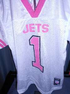 NEW Nice New York JETS #1 YOUTH XLarge XL 16 Cute Pink Reebok Jersey