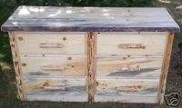 Rustic Pine Log 6 Drawer Dresser, lodge cabin furniture