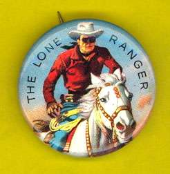 Lone Ranger western 1950s pinback button pin