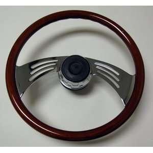 Freightliner 18 Wing Chrome & Wood Steering Wheel