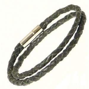 Neptune Giftware Plaited Black Leather Strap Wrap Around