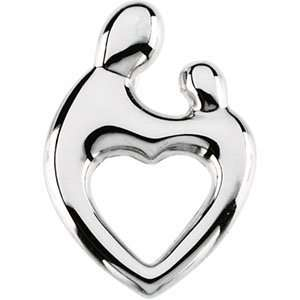 White Gold Mother and Child Heart Pendant by Janel Russell Jewelry