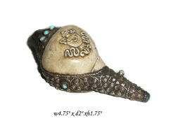 Vintage Tibetan Conch Shell w Beads & Vase Motif s1574