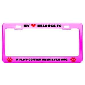 A Flat Coated Retriever Dog Pet Pink Metal License Plate