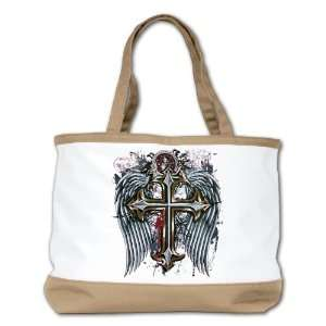 Shoulder Bag Purse (2 Sided) Tan Cross Angel Wings