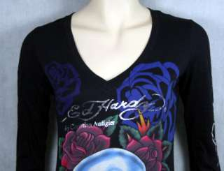 ED Hardy womens SKULL ROSES 3/4 sleeve T shirt dress
