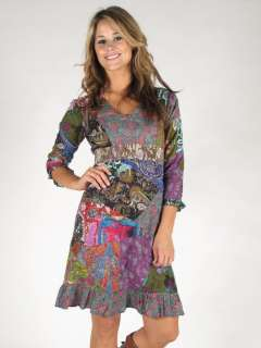 Fair Trade Boho Patchwork Mini Dress S M L Hippy Gypsey Long Sleeve