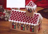 CHURCH TISSUE TOPPER PATTERN ONLY**PLASTIC CANVAS PATTERN**