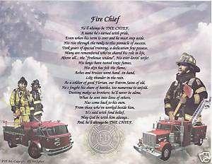 Fire Chief Poem Personalized Name Prayer Fireman Print
