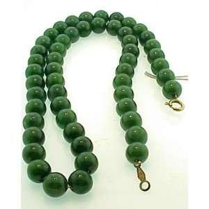 Vintage Dark Green Jade Bead Necklace