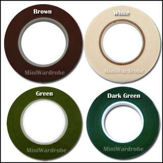 Green White Brown Floral Stem Wrap Florist tape 1/2 1 Roll