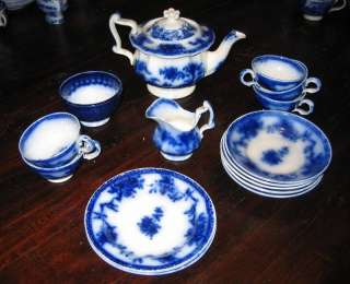 Antique Flow Blue Childs toy tea set