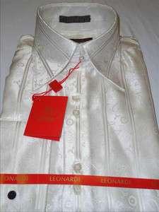 Mens Leonardi White Paisley Stripe 3 Button High Collar French Cuff