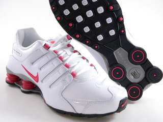 Nike Shox NZ White/Cherry Pink/Black Light Running Trainer GS Girl