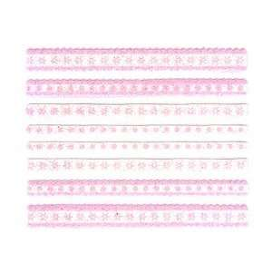 Glitter White & Pink Flower/Dot Lace Strip Nail Stickers/Decals